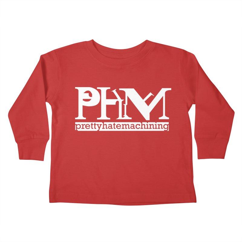 White PHM logo Kids Toddler Longsleeve T-Shirt by prettyhatemachining's Artist Shop