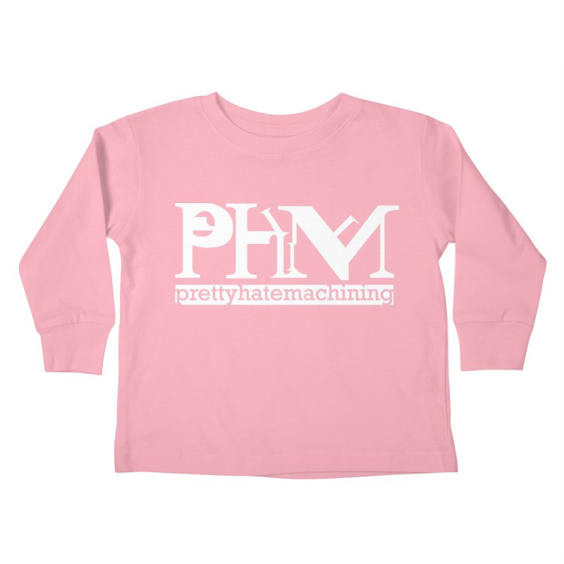 White PHM logo Kids Toddler Longsleeve T-Shirt by prettyhatemachining's Artist Shop