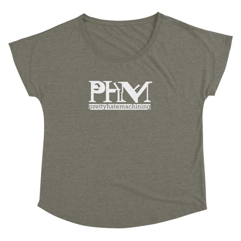 White PHM logo Women's Dolman Scoop Neck by prettyhatemachining's Artist Shop