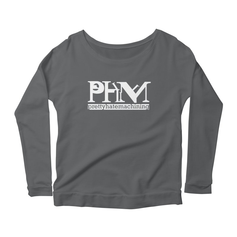 White PHM logo Women's Scoop Neck Longsleeve T-Shirt by Pretty Hate Machining's Artist Shop