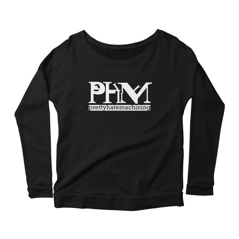 White PHM logo Women's Scoop Neck Longsleeve T-Shirt by prettyhatemachining's Artist Shop