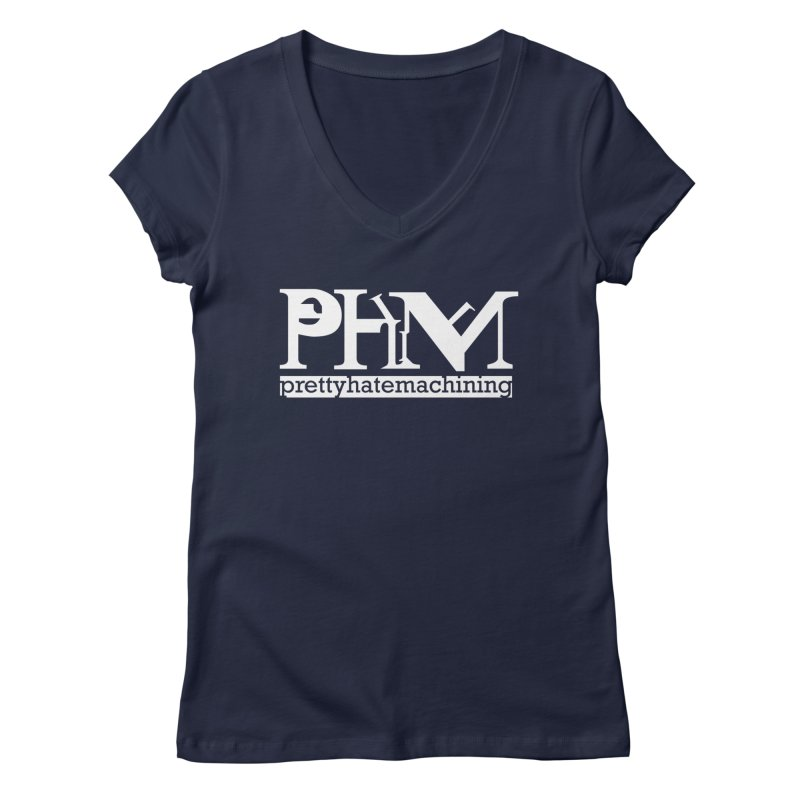 White PHM logo Women's Regular V-Neck by prettyhatemachining's Artist Shop