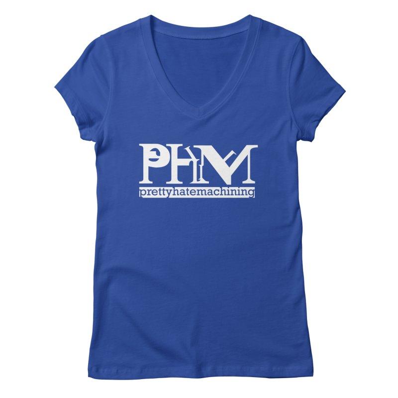 White PHM logo Women's Regular V-Neck by prettyhatemachining's Artist Shop
