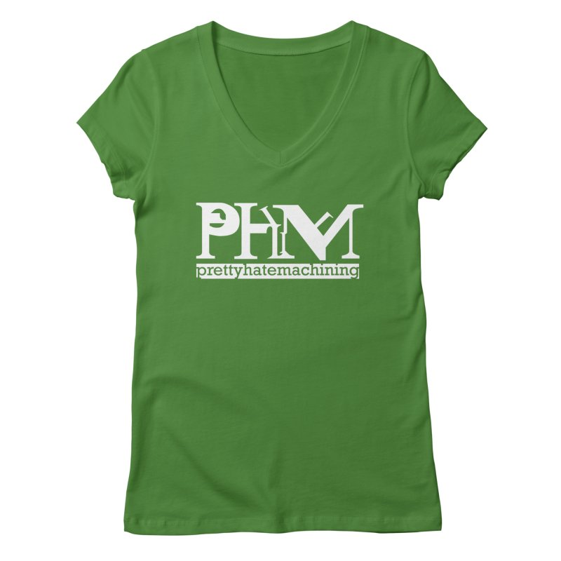 White PHM logo Women's Regular V-Neck by Pretty Hate Machining's Artist Shop