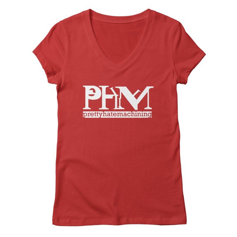 White PHM logo Women's Regular V-Neck by Pretty Hate Machining's Artist Shop