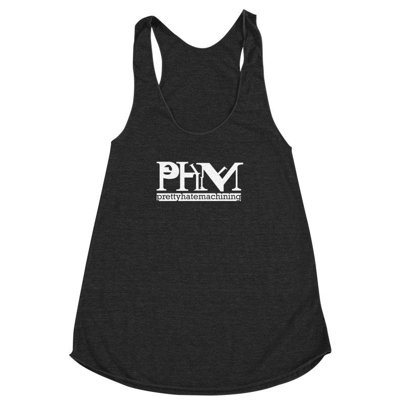 White PHM logo Women's Racerback Triblend Tank by Pretty Hate Machining's Artist Shop