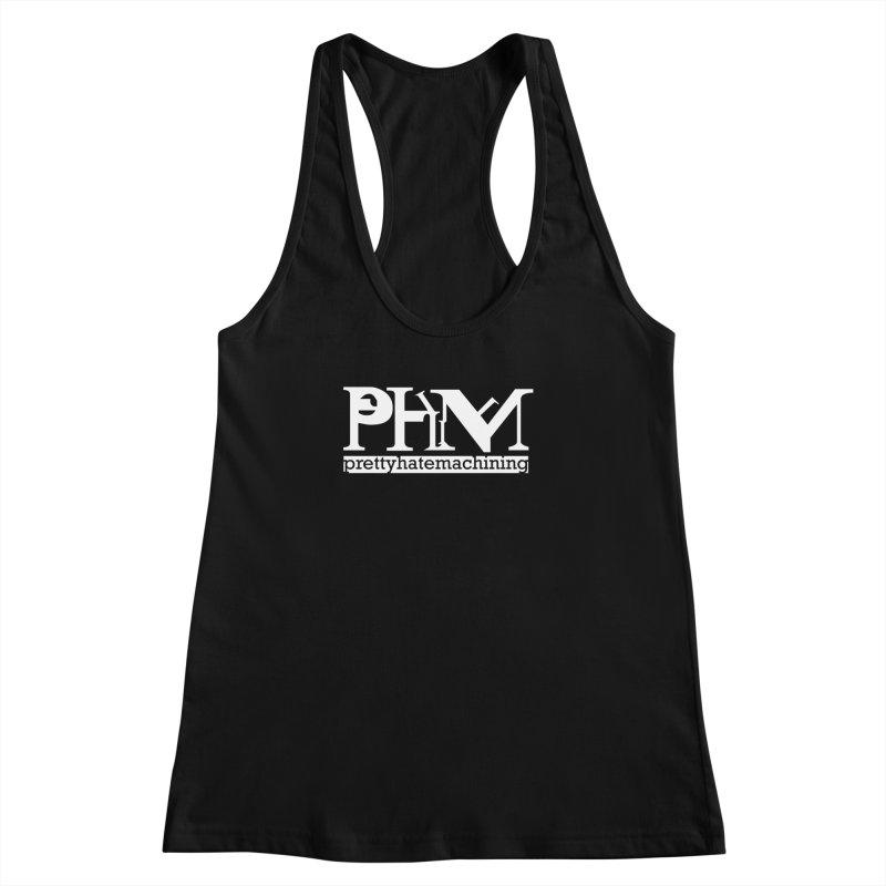 White PHM logo Women's Racerback Tank by prettyhatemachining's Artist Shop