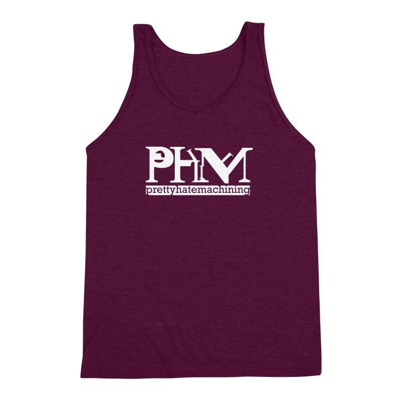 White PHM logo Men's Triblend Tank by prettyhatemachining's Artist Shop