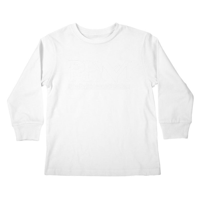 White PHM logo Kids Longsleeve T-Shirt by Pretty Hate Machining's Artist Shop