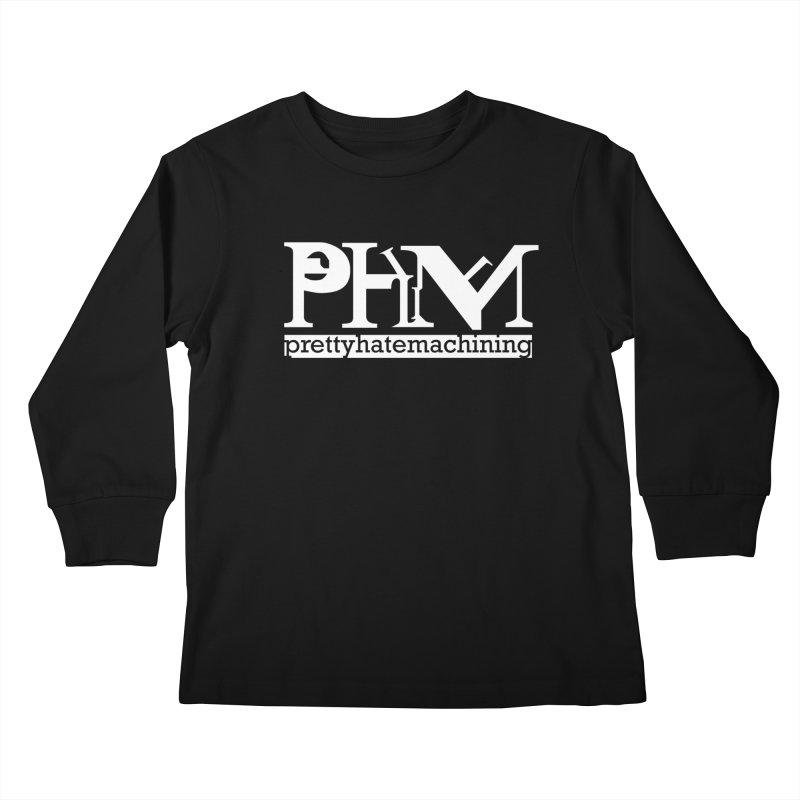 White PHM logo Kids Longsleeve T-Shirt by prettyhatemachining's Artist Shop