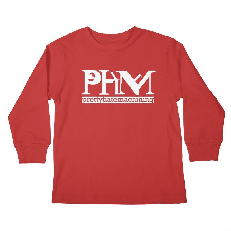White PHM logo Kids Longsleeve T-Shirt by Pretty Hate Machining's Artist Shop
