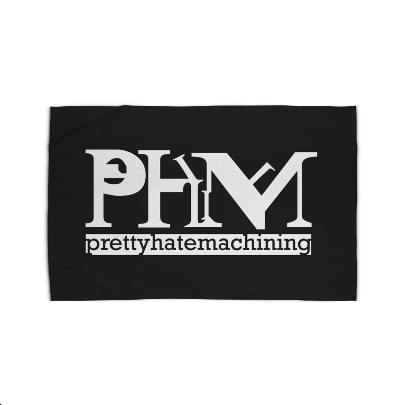 White PHM logo Home Rug by Pretty Hate Machining's Artist Shop