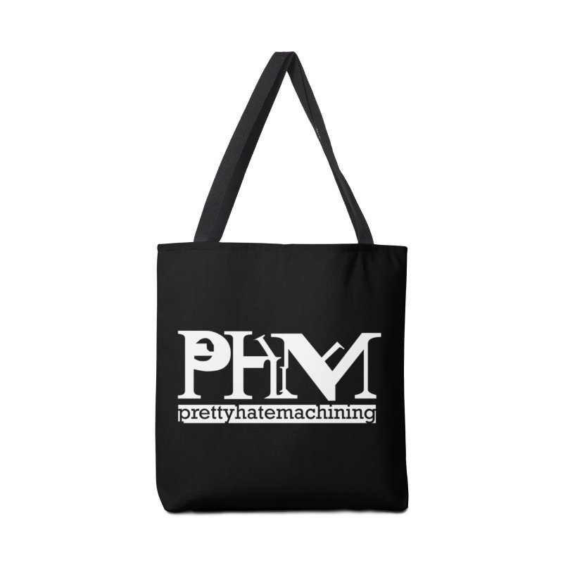 White PHM logo Accessories Tote Bag Bag by Pretty Hate Machining's Artist Shop