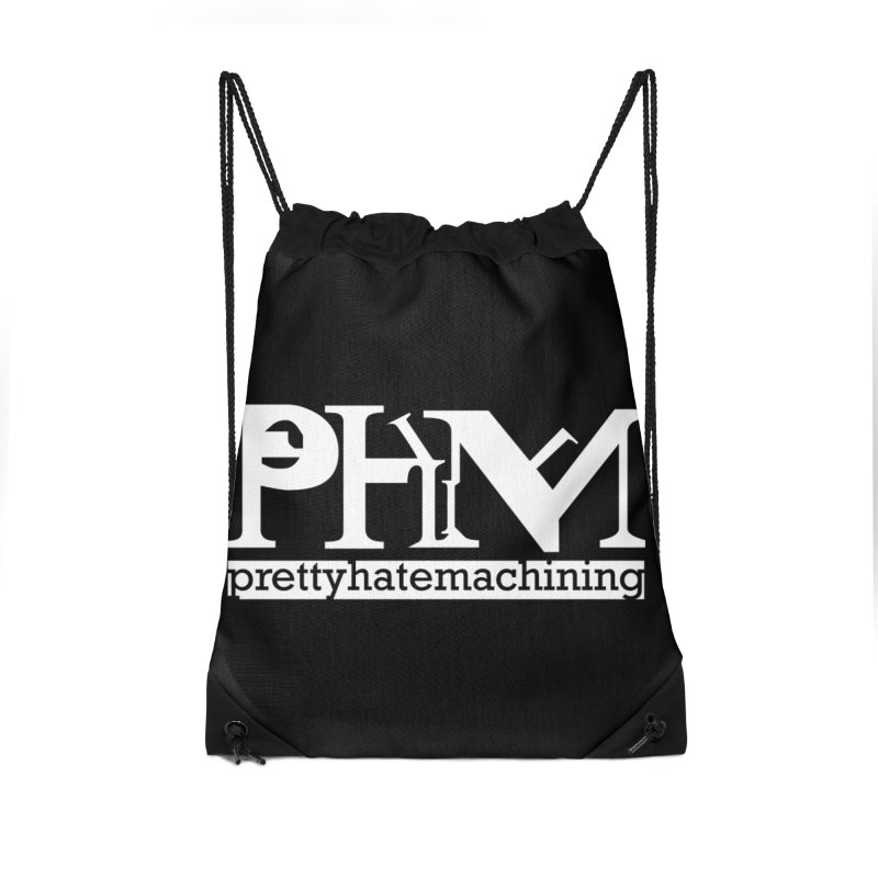 White PHM logo Accessories Drawstring Bag Bag by Pretty Hate Machining's Artist Shop