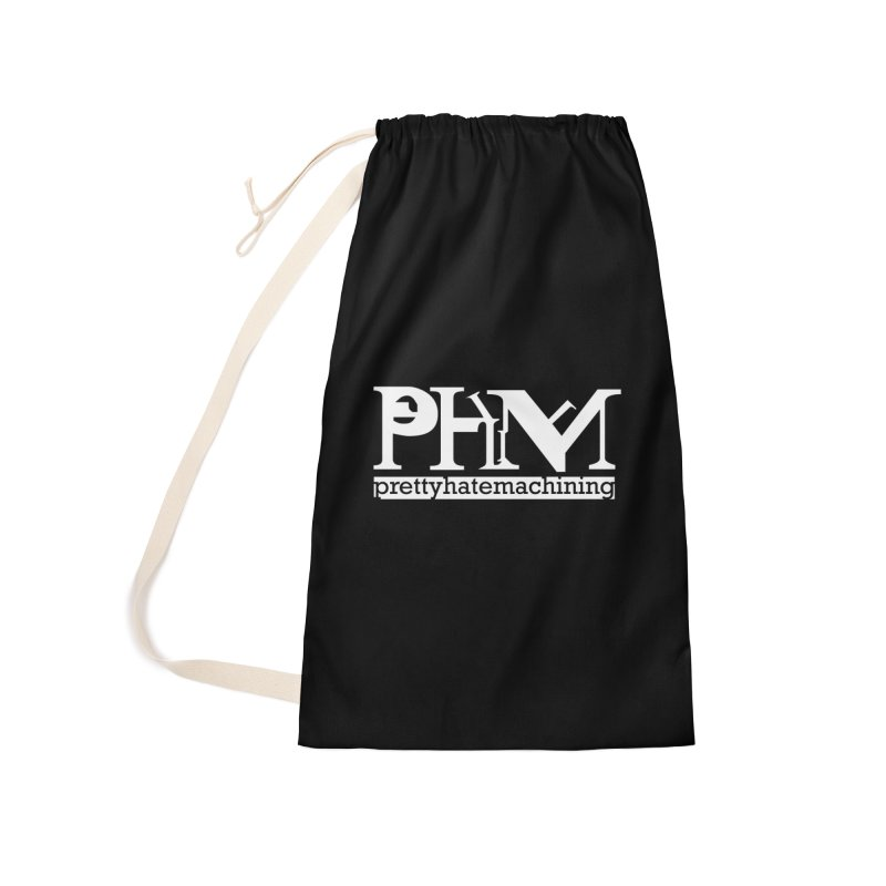White PHM logo Accessories Laundry Bag Bag by Pretty Hate Machining's Artist Shop