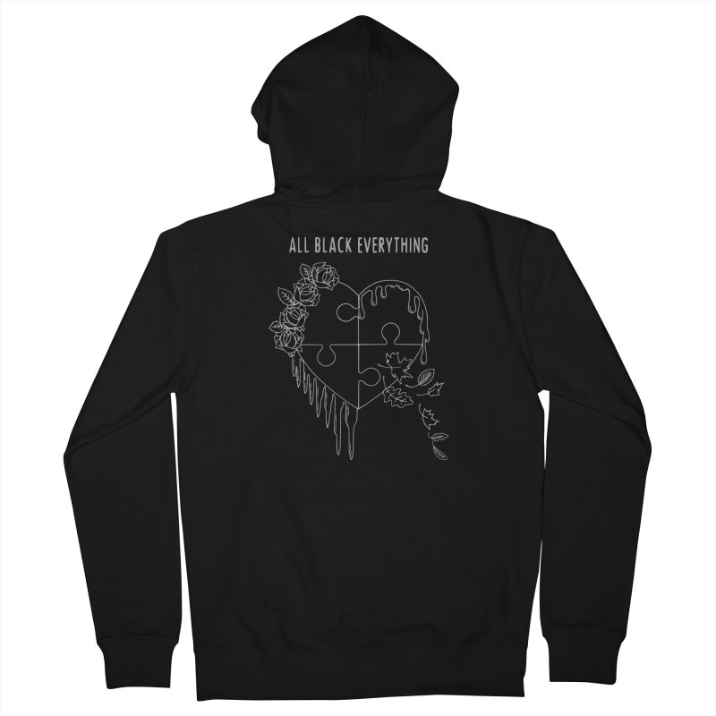All Black Everything Black Puzzle Heart Women's French Terry Zip-Up Hoody by Pretty In Punk