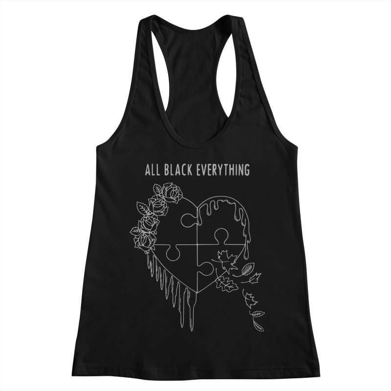 All Black Everything Black Puzzle Heart Women's Racerback Tank by Pretty In Punk