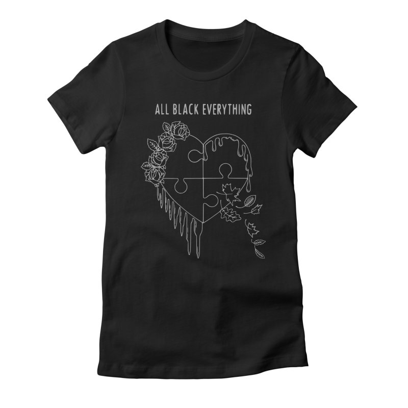All Black Everything Black Puzzle Heart Women's Fitted T-Shirt by Pretty In Punk