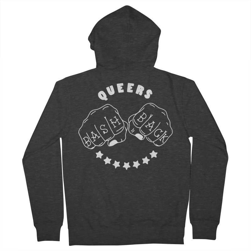 Queers Bash Back (B&W) Men's French Terry Zip-Up Hoody by Pretty In Punk