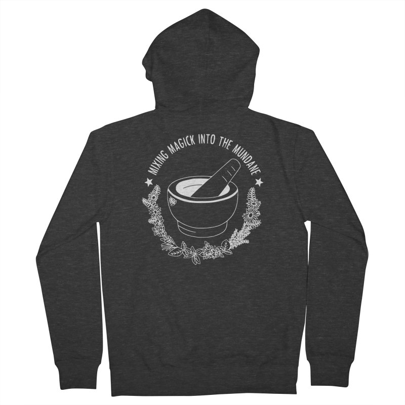 Mixing Magick Into The Mundane (B&W) Women's French Terry Zip-Up Hoody by Pretty In Punk