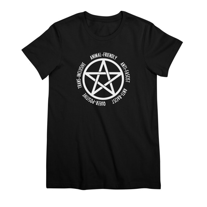 Intersectional Witchcraft Pentagram (B&W) Women's T-Shirt by Pretty In Punk