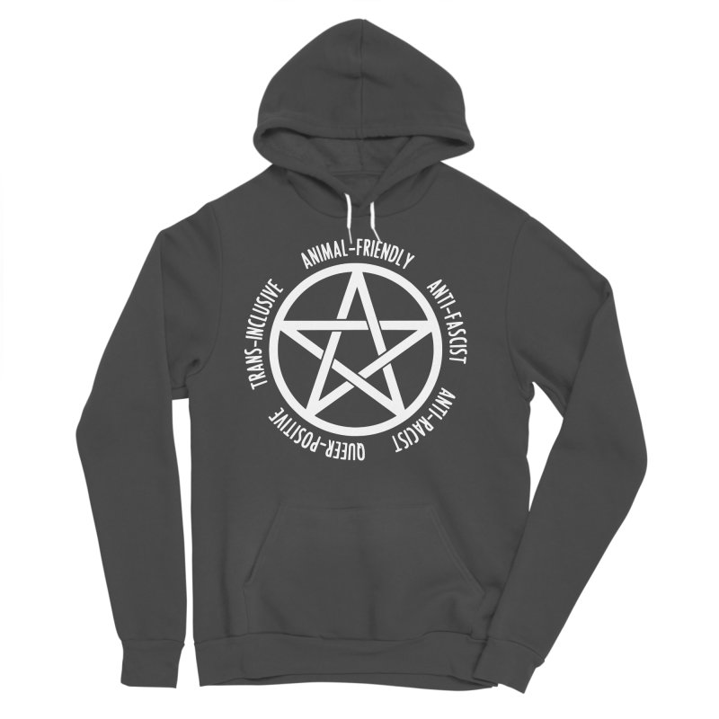 Intersectional Witchcraft Pentagram (B&W) Women's Sponge Fleece Pullover Hoody by Pretty In Punk