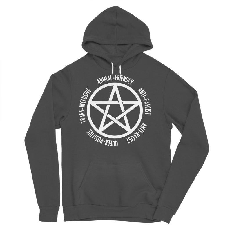 Intersectional Witchcraft Pentagram (B&W) Men's Sponge Fleece Pullover Hoody by Pretty In Punk