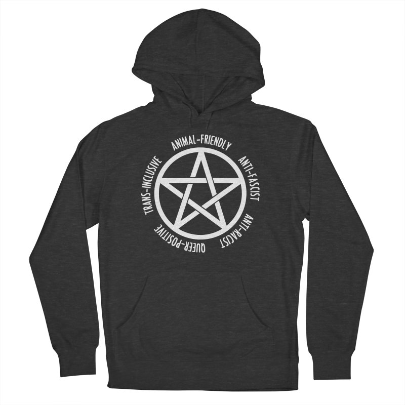 Intersectional Witchcraft Pentagram (B&W) Women's French Terry Pullover Hoody by Pretty In Punk