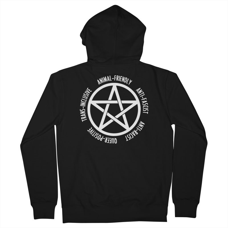Intersectional Witchcraft Pentagram (B&W) Men's French Terry Zip-Up Hoody by Pretty In Punk