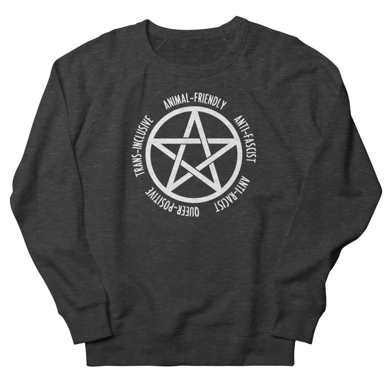 Intersectional Witchcraft Pentagram (B&W) Women's French Terry Sweatshirt by Pretty In Punk