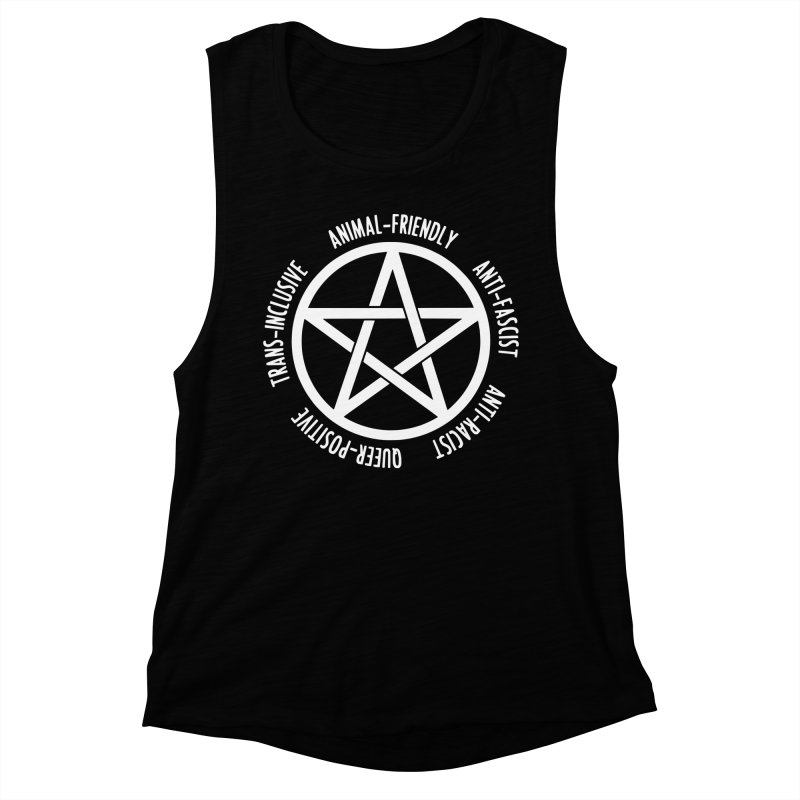 Intersectional Witchcraft Pentagram (B&W) Women's Muscle Tank by Pretty In Punk