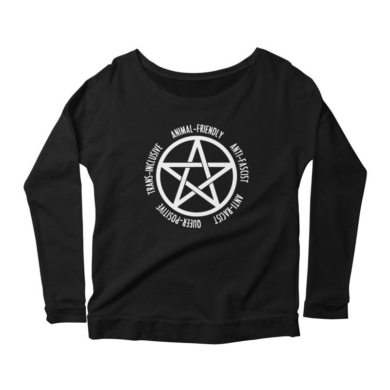 Intersectional Witchcraft Pentagram (B&W) Women's Scoop Neck Longsleeve T-Shirt by Pretty In Punk