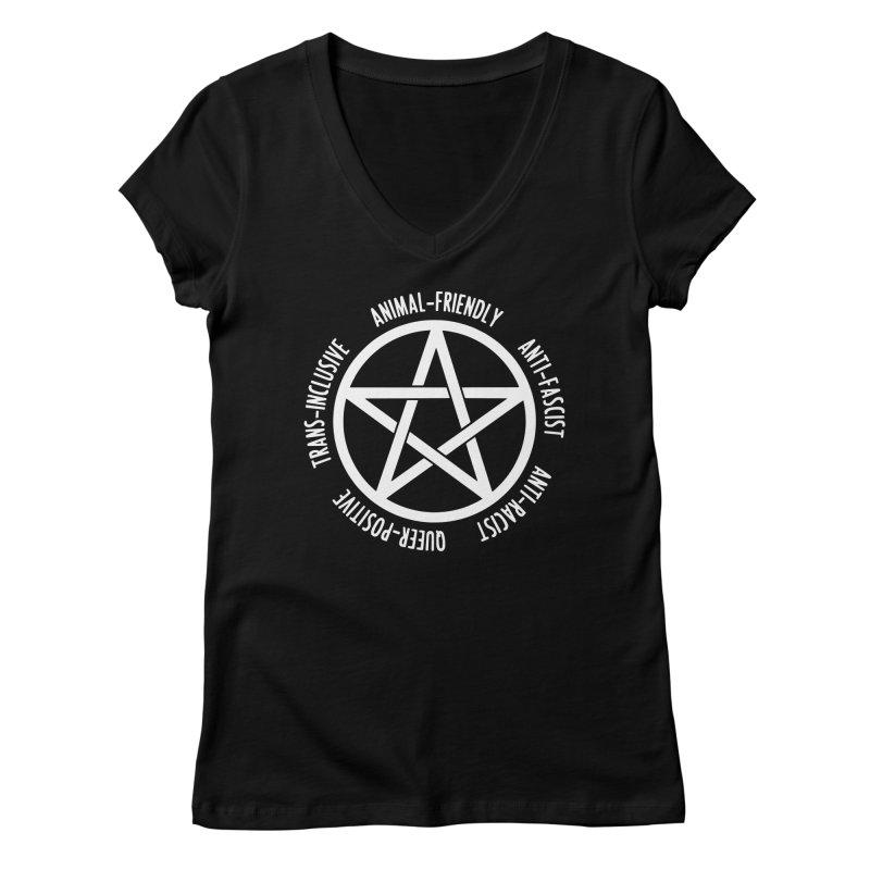 Intersectional Witchcraft Pentagram (B&W) Women's Regular V-Neck by Pretty In Punk