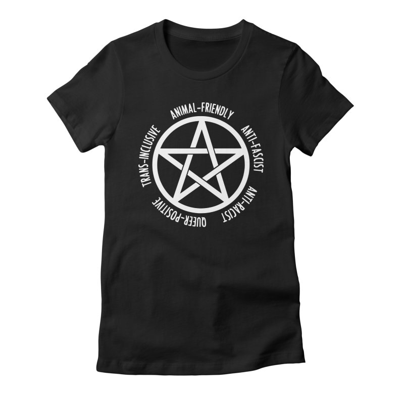 Intersectional Witchcraft Pentagram (B&W) Women's Fitted T-Shirt by Pretty In Punk