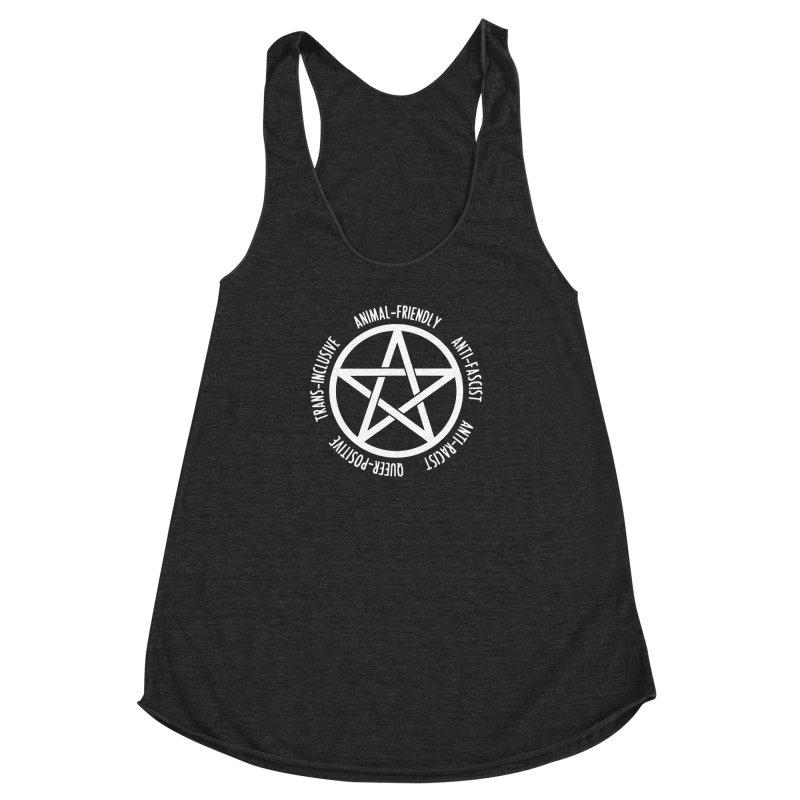 Intersectional Witchcraft Pentagram (B&W) Women's Racerback Triblend Tank by Pretty In Punk