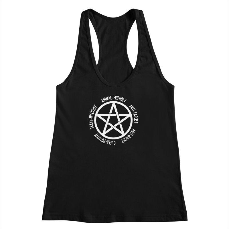 Intersectional Witchcraft Pentagram (B&W) Women's Racerback Tank by Pretty In Punk