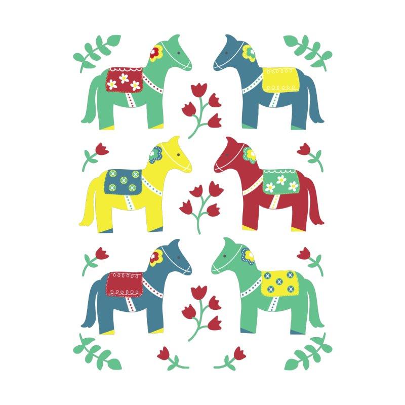 Scandinavian Horses Print Women's Fitted T-Shirt by prettyprismatic's Artist Shop