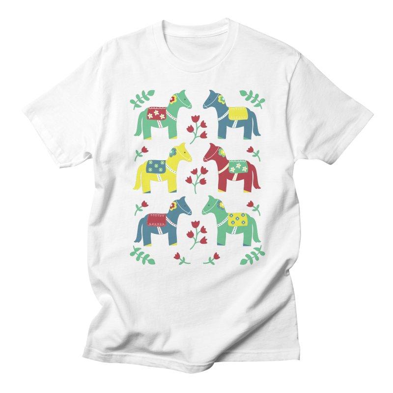 Scandinavian Horses Print Men's T-shirt by prettyprismatic's Artist Shop
