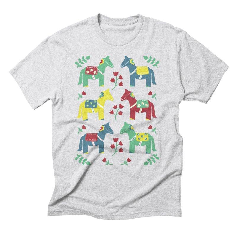 Scandinavian Horses Print Men's Triblend T-Shirt by prettyprismatic's Artist Shop