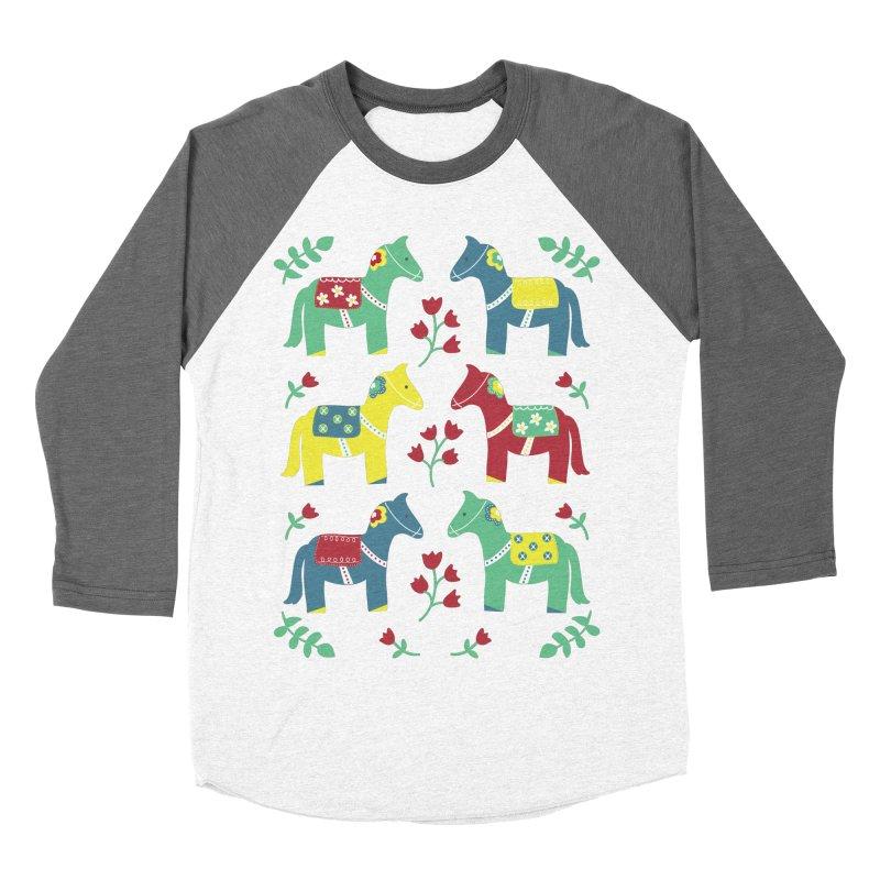 Scandinavian Horses Print Women's Baseball Triblend T-Shirt by prettyprismatic's Artist Shop