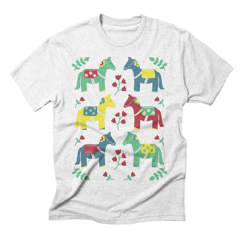 Scandinavian Horses Print Men's Triblend T-shirt by prettyprismatic's Artist Shop