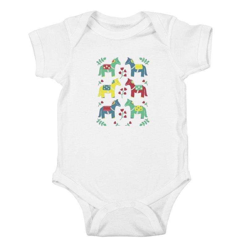 Scandinavian Horses Print Kids Baby Bodysuit by prettyprismatic's Artist Shop