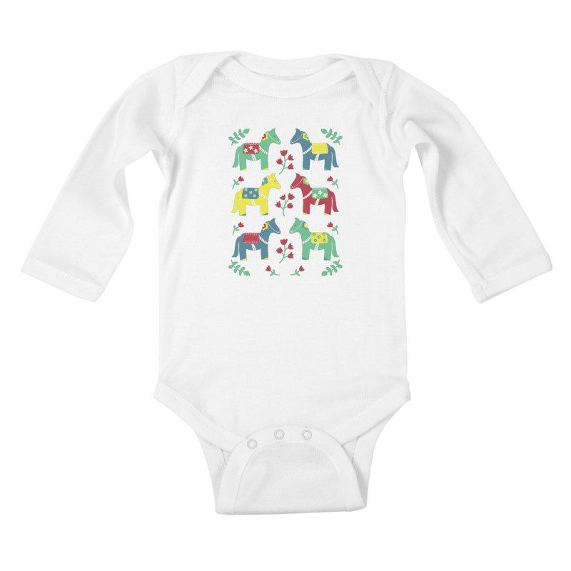 Scandinavian Horses Print Kids Baby Longsleeve Bodysuit by prettyprismatic's Artist Shop