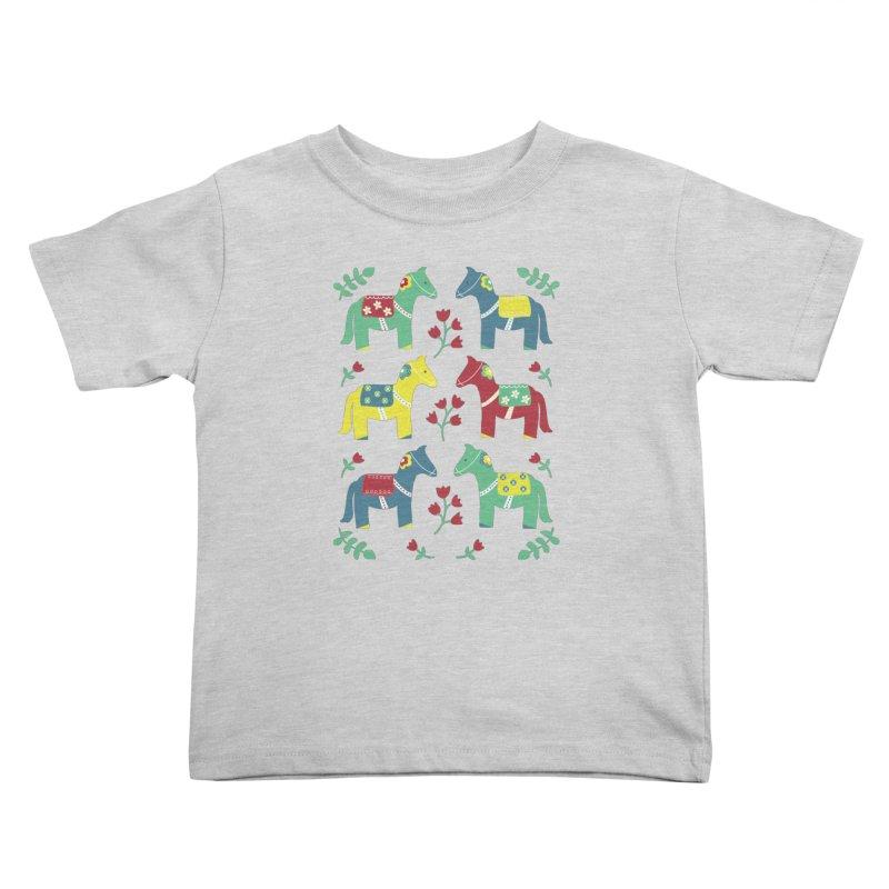 Scandinavian Horses Print Kids Toddler T-Shirt by prettyprismatic's Artist Shop