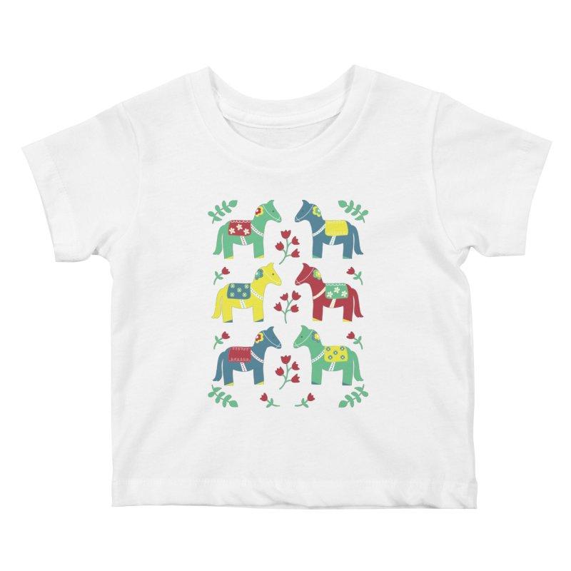 Scandinavian Horses Print Kids Baby T-Shirt by prettyprismatic's Artist Shop