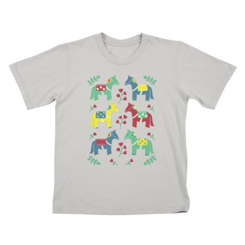 Scandinavian Horses Print Kids T-Shirt by prettyprismatic's Artist Shop