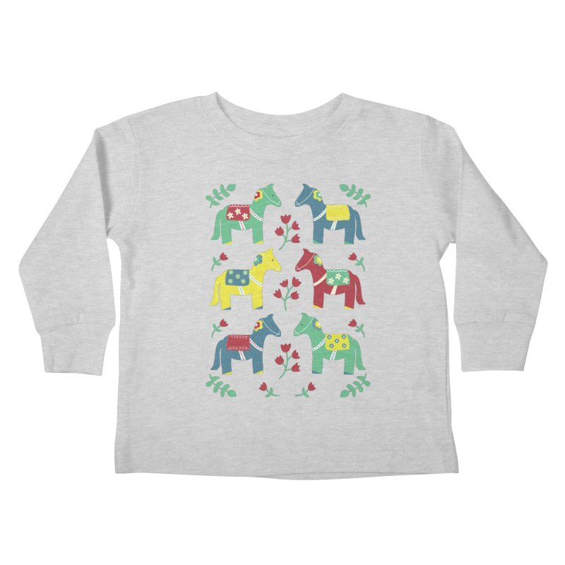 Scandinavian Horses Print Kids Toddler Longsleeve T-Shirt by prettyprismatic's Artist Shop