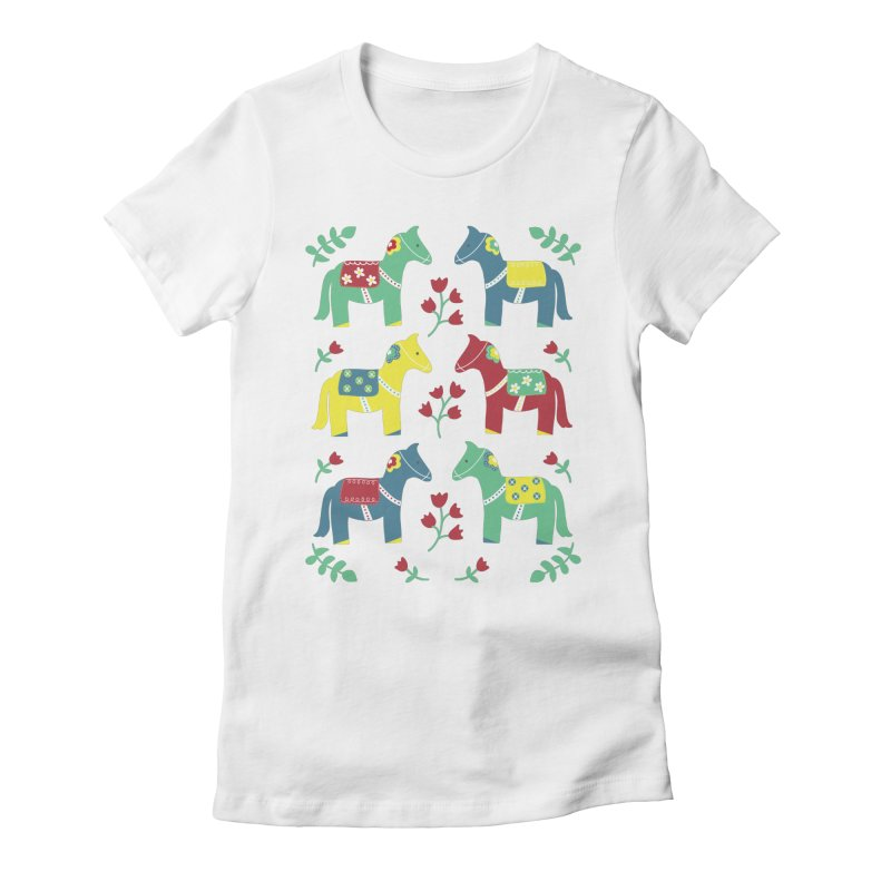 Scandinavian Horses Print Women's Fitted T-Shirt by prettyprismatic's Artist Shop