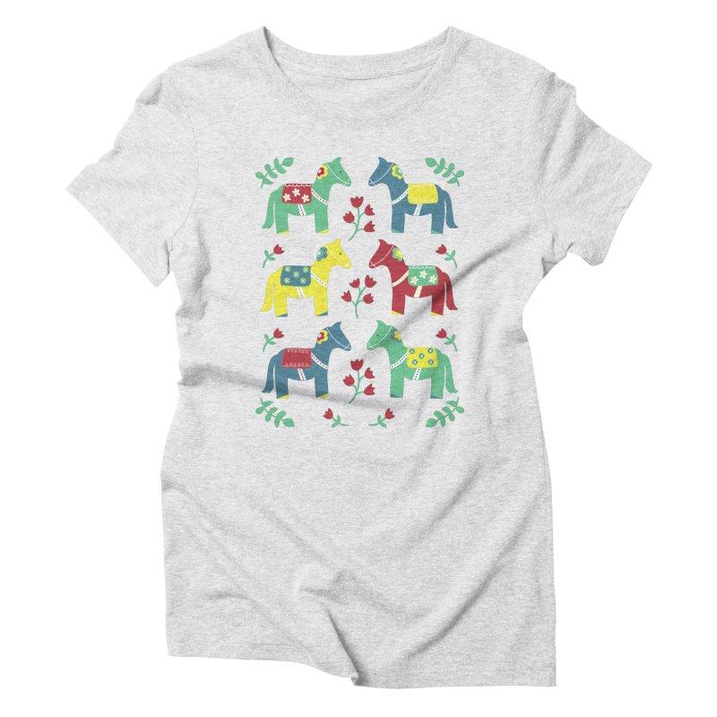 Scandinavian Horses Print Women's Triblend T-shirt by prettyprismatic's Artist Shop