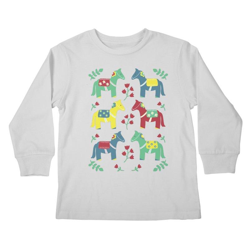Scandinavian Horses Print Kids Longsleeve T-Shirt by prettyprismatic's Artist Shop